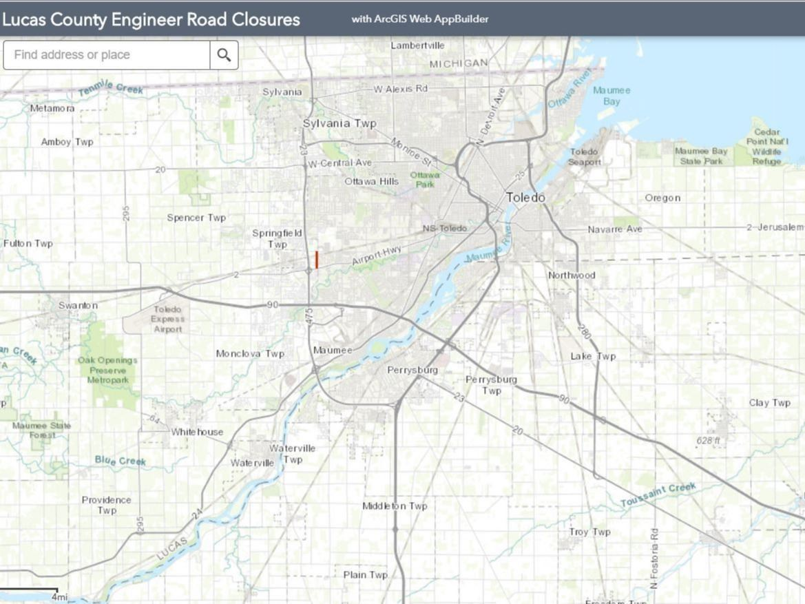 Lucas County Engineer's Road Closures Map